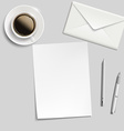 sheet of paper envelope pen and cup of coffee on vector image