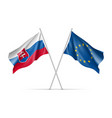slovakia and european union waving flags vector image vector image