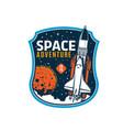 space shuttle icon galaxy explore emblem vector image vector image