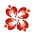 Teamwork hearts and hands logo vector image vector image