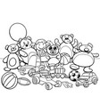 toys group cartoon coloring book vector image