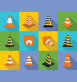 traffic cone icons set flat style vector image