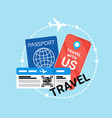 travel documents icon id passport and ticket on vector image vector image