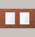 two white frames on a brick wall pictures layout vector image vector image