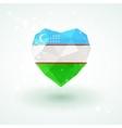 Uzbekistan flag in shape diamond glass heart vector image vector image