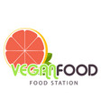 vegan food station orange background image vector image