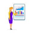 woman coacher wearing presenting graphs on screen vector image vector image