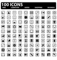 100 web icons set vector image