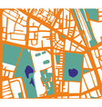 Abstract city map with streets buildings and park vector image