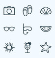 summer outline icons set collection of sunny vector image