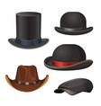 hat for men set isolated on white vector image
