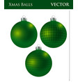 a set of dark green christmas balls vector image vector image