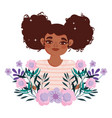 afro american woman cartoon character flowers vector image vector image