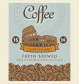 banner with coffee beans and roman coliseum vector image