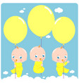 batriplets with balloons vector image vector image