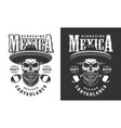 bearded and mustached mexican skull emblem vector image vector image
