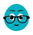 blue cartoon face with eyeglasses graphic vector image vector image