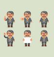 businessman different actions man mustache geek vector image