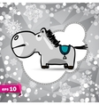 cartoon horse Symbol of 2014 Winter Backdrop vector image
