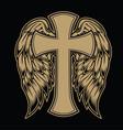 christian cross wing crown drawing blak vin vector image
