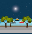city dock with boats scene vector image vector image