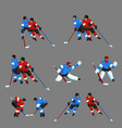 colored hockey player set 5 vector image vector image