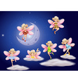 Fairies flying in the sky at night vector image vector image