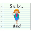 Flashcard letter S is for stand vector image vector image