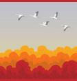 flying white storks vector image