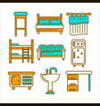 furniture pieces colorful graphic set isolated on vector image vector image