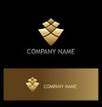 gold abstract square business logo vector image vector image