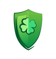 green shield with lucky clover - celtic symbol for vector image vector image
