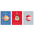 greeting cards with a beautiful christmas toys vector image vector image