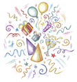 hand drawn celebration elements vector image vector image