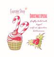hand drawn christmas cupcake vector image