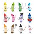 happy cartoon crayon colors mascot vector image vector image