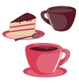 Isolated cup and cake set vector image vector image