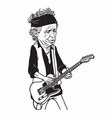 keith richards the rolling stones cartoon vector image vector image
