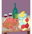 Lobster with wine lemon pomegranates still life vector image