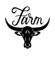 logo head of a bull farm lettering vector image vector image