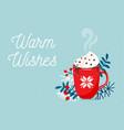 red mug with christmas hot chocolate or coffee vector image vector image