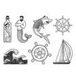 sea set sketch vector image vector image