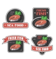 Seafood and fresh fish label or logo vector image vector image