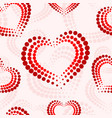 seamless pattern with red and white dotted hearts vector image