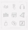 set of music icons line style symbols with vector image