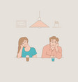 sketch young man and woman bored vector image vector image