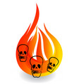 skulls and burning fire flame icon vector image