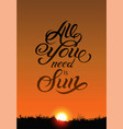 summer sun calligraphic design with sunset vector image