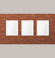three white frames on a brick wall vector image vector image