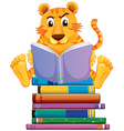 Tiger and books vector image vector image